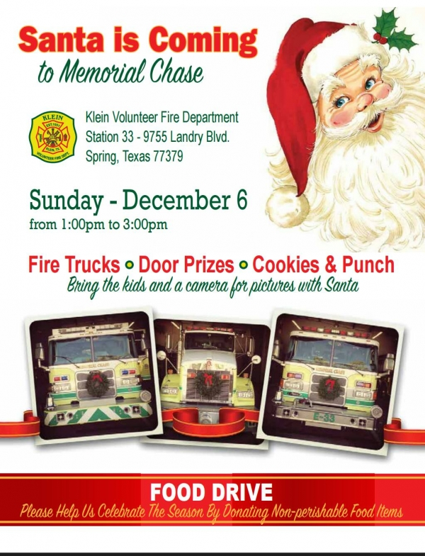 Santa is Coming to Memorial Chase